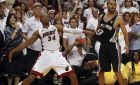 The Miami Heat's Ray Allen (34) watches his 3-pointer fall in the final seconds of the fourth quarter as he holds the San Antonio Spurs' Tony Parker in Game 6 of the NBA Finals on Tuesday, June 18, 2013, at the AmericanAirlines Arena in Miami, Florida. Miami won, 103-100, in overtime to force a Game 7. (Charles Trainor Jr./Miami Herald/MCT) ORG XMIT: 1140051