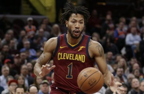 Cleveland Cavaliers' Derrick Rose drives downcourt in the first half of an NBA basketball game against the Indiana Pacers, Wednesday, Nov. 1, 2017, in Cleveland. (AP Photo/Tony Dejak)