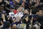 New England Patriots' Julian Edelman, right, and New England Patriots' Tom Brady celebrate after the NFL Super Bowl 53 football game against the Los Angeles Rams, Sunday, Feb. 3, 2019, in Atlanta. The Patriots won 13-3. (AP Photo/Charlie Riedel)