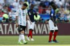 Argentina's Lionel Messi reacts during the round of 16 match between France and Argentina, at the 2018 soccer World Cup at the Kazan Arena in Kazan, Russia, Saturday, June 30, 2018. (AP Photo/David Vincent)