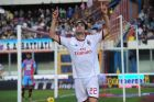 AC Milan forward Kaka, of Brazil, celebrates after scoring during the Serie A soccer match between Catania and AC Milan at the Angelo Massimino stadium in Catania, Italy, Sunday, Dec. 1, 2013. (AP Photo/Carmelo Imbesi)
