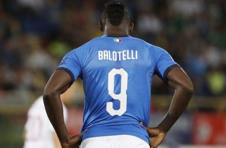 Ο Μπαλοτέλι με τη φανέλα της εθνικής Ιταλίας σε αναμέτρηση του UEFA Nations League με αντίπαλο την Πολωνία στο 'Dall'Ara stadium' της Μπολόνια, στις 7 Σεπτεμβρίου 2018. (AP Photo/Antonio Calanni)