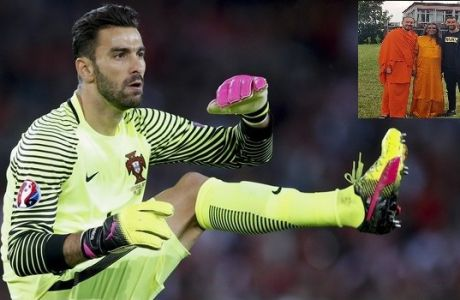 Portugal goalkeeper Rui Patricio streteches during the Euro 2016 Group F soccer match between Portugal and Austria at the Parc des Princes stadium in Paris, France, Saturday, June 18, 2016. (AP Photo/Christophe Ena)