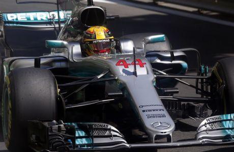 Mercedes driver Lewis Hamilton of Britain steers his car during the third free practice at the Formula One Azerbaijan Grand Prix in Baku, Azerbaijan, Saturday, June 24, 2017. (AP Photo/Darko Bandic)