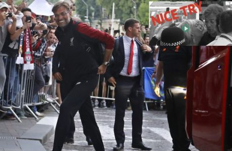 Liverpool manager Jurgen Klopp as the team arrive at the team's hotel in Kiev, Ukraine, Thursday, May 24, 2018. Liverpool will play Real Madrid in the Champions League final soccer match in Kiev on Saturday May 26. (AP Photo/Sergei Grits)