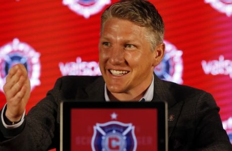 The Chicago Fire's new player Basitan Schweinsteiger speaks during a press conference at the The PrivateBank Fire Pitch in Chicago, Wednesday, March 29, 2017. (AP Photo/Nam Y. Huh)