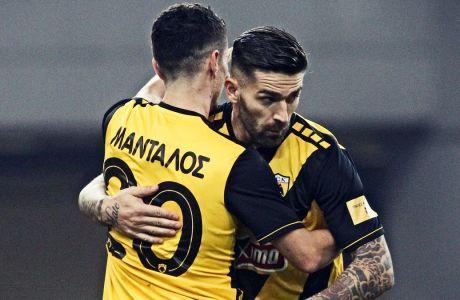 Πέτρος Μάνταλος και Μάρκο Λιβάγια ήταν οι σκόρερ της ΑΕΚ στην αγχωτική νίκη με σκορ 2-1 επί του Αστέρα στο ΟΑΚΑ, για την 15η αγωνιστική της Super League (18/12/2019) - (ΦΩΤΟΓΡΑΦΙΑ: ΘΑΝΑΣΗΣ ΔΗΜΟΠΟΥΛΟΣ / EUROKINISSI)