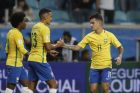 Brazil's Philippe Coutinho, right, celebrates with Brazil's Marquinhos, center, after scoring his side's second goal against Ecuador during a 2018 World Cup qualifying soccer match in Porto Alegre, Brazil, Thursday, Aug. 31, 2017. (AP Photo/Andre Penner)