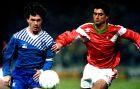 Ο Δημήτρης Σαραβάκος στον νικηφόρο αγώνα του 1991 με αντίπαλο την Πορτογαλία