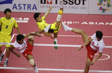 Στιγμιότυπο από αγώνα sepak takraw των 18ων Αγώνων Ασίας στο Παλεμπάνγκ της Ινδονησίας, Σάββατο 1 Σεπτεμβρίου 2018