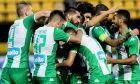Οι παίκτες του Παναθηναϊκού πανηγυρίζουν το τέρμα του Κολοβού, με το οποίο οι 'πράσινοι' επικράτησαν με σκορ 1-0 του Άρη στο 'Κ. Βικελίδης' για την 9η αγ. των playoffs της Super League. ΦΩΤΟΓΡΑΦΙΑ: MOTION TEAM