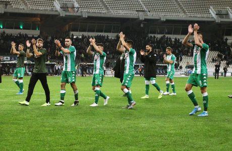Οι παίκτες του Παναθηναϊκού πανηγυρίζουν έπειτα από τη νίκη τους επί της ΑΕΚ για τη Super League 1 2019-2020 στο Ολυμπιακό Στάδιο, Κυριακή 10 Νοεμβρίου 2019