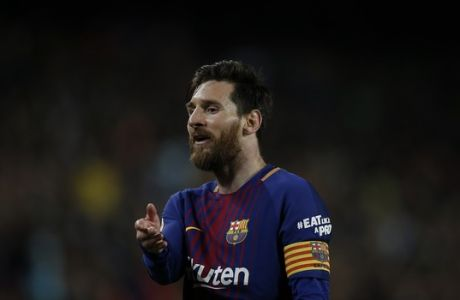Barcelona's Lionel Messi reacts during a Spanish La Liga soccer match between Barcelona and Real Madrid, dubbed 'el clasico', at the Camp Nou stadium in Barcelona, Spain, Sunday, May 6, 2018. (AP Photo/Manu Fernandez)