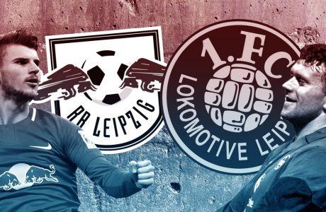 Ο Τίμο Βέρνερ της Red Bull Leipzig και ο Όλαφ Μάρσαλ της Lokomotive Leipzig