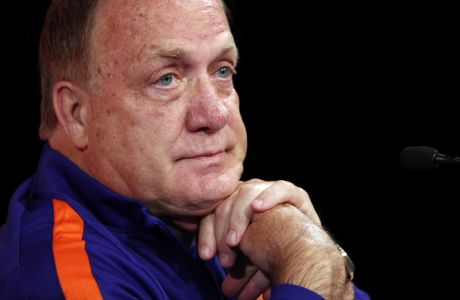 Netherlands soccer team coach Dick Advocaat attends a press conference at the Stade de France stadium in Saint Denis, north of Paris, France, Wednesday, Aug. 30, 2017. France will play against Netherlands during their World Cup Group A qualifying soccer match on Thursday, Aug.31. (AP Photo/Christophe Ena)