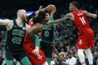 Houston Rockets' Gerald Green (14) and Nene Hilario, second from left, defend against Boston Celtics' Jayson Tatum (0) and Aron Baynes (46) during the first half of an NBA basketball game in Boston, Sunday, March 3, 2019. (AP Photo/Michael Dwyer)