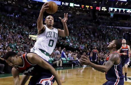 Boston Celtics guard Avery Bradley (0) drives to the basket against the Washington Wizards during the second half of Game 5 of a second-round NBA basketball playoff series Wednesday, May 10, 2017, in Boston. Bradley scored 29 points as the Celtics won 123-101. (AP Photo/Charles Krupa)