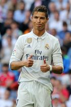 Real Madrid's Portuguese forward Cristiano Ronaldo gestures  during the Spanish league football match Real Madrid CF vs Sevilla FC at the Santiago Bernabeu stadium in Madrid on May 14, 2017. / AFP PHOTO / CESAR MANSO        (Photo credit should read CESAR MANSO/AFP/Getty Images)