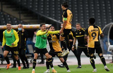 Ο Σιμόες της ΑΕΚ πανηγυρίζει γκολ που σημείωσε κόντρα στη Βόλφσμπουργκ για τα playoffs του Europa League 2020-2021 στο Ολυμπιακό Στάδιο | Πέμπτη 1 Οκτωβρίου 2020