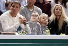 Paris Saint Germain soccer star Zlatan Ibrahimovic, left, with his partner Helena Seger and their children Maximilian and Vincent, center, attend the semifinal match between Serbia's Novak Djokovic and Switzerland's Roger Federer at the tennis Paris Masters, in Paris, Saturday Nov. 2, 2013. (AP Photo/Remy de la Mauviniere)