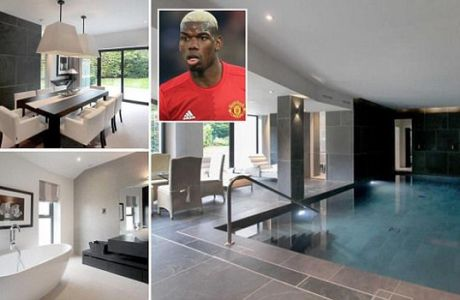 ***COPYRIGHT UNKNOWN - USE AT OWN RISK*** PIC FROM MERCURY PRESS (PICTURED: AN EXTERIOR VIEW OF MANCHESTER UNITED MIDFIELDER PAUL POGBA'S NEW CUT PRICE 2.9 MILLION POUND HOME IN CHESHIRE) Manchester United star Paul Pogba has proved himself a dab hand in the property market - by netting a new home for £600,000 less than the asking price. The world's most expensive footballer paid £2.9m for a swanky five-bedroom Cheshire mansion that was up for sale at £3.49m. And the £290,000-a-week Frenchman - famous for his 'dabbing' goal celebrations - saved himself a fortnight's wages with the cut-price deal just before the transfer window. Pogba, who rejoined United from Italian side Juventus in a record £89m transfer last summer, will enjoy luxuries including a heated indoor swimming pool, saunas, and his own media room.  SEE MERCURY COPY