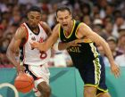 File photo showing Brazil's Oscar Schmidt (R) battle for a loose ball with Scottie Pippen of the U.S. during their game in Atlanta on July 30, 1996. Schmidt, who played in five Olympic Games, announced his retirement May 25, 2003 at the age of 45. He took part in every Olympic Games from Moscow in 1980 to Atlanta in 1996, scoring a total of 1,093 points. In 2001, Schmidt surpassed NBA legend Kareem Abdul-Jabbar's career record of 46,725 points. The highlight of his career came in 1987 when he was in the Brazil team that stunned the United States to win the gold medal at the Pan-Am Games in Indianapolis.  REUTERS/Ray Stubblebine/FILE (Newscom TagID: rtrlive495299.jpg) [Photo via Newscom]