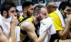 Οι παίκτες της ΑΕΚ απογοητευμένοι στον πάγκο κατά τη διάρκεια της αναμέτρησης με το Ρέθυμνο για την ΕΚΟ Basket League 2019-2020 στο 'Μελίνα Μερκούρη', Κυριακή 27 Οκτωβρίου 2019