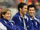 """Ο Φίγκο μαζί με τους Ραούλ και Μίτσελ Σαλγάδο, στην προετοιμασία της Ρεάλ για τη σεζόν 2000/01, λίγες μέρες μετά τη μεταγραφή του στους """"μερένγκες""""."""
