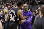 MILWAUKEE, WI - FEBRUARY 22: Kobe Bryant #24 of the Los Angeles Lakers hugs Giannis Antetokounmpo #34 of the Milwaukee Bucks after the game against the Milwaukee Bucks at BMO Harris Bradley Center on February 22, 2016 in Milwaukee, Wisconsin. NOTE TO USER: User expressly acknowledges and agrees that, by downloading and or using this photograph, User is consenting to the terms and conditions of the Getty Images License Agreement. (Photo by Mike McGinnis/Getty Images)