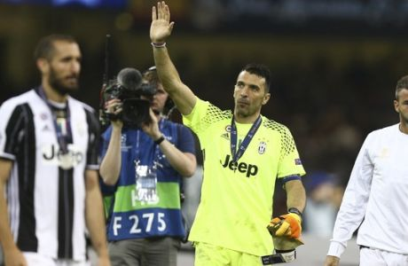 Juventus goalkeeper Gianluigi Buffon after the Champions League final soccer match between Juventus and Real Madrid at the Millennium stadium in Cardiff, Wales Saturday June 3, 2017. (AP Photo/Dave Thompson)