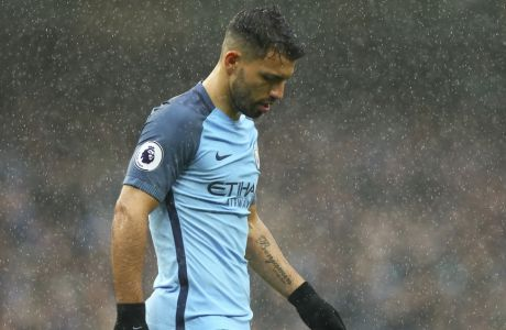 Manchester City's Sergio Aguero walks on the pitch during the English Premier League soccer match between Manchester City and Liverpool at the Etihad Stadium in Manchester, England, Sunday March 19, 2017. (AP Photo/Dave Thompson)