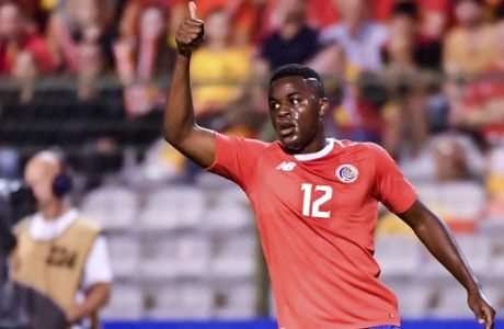 Costa Rica's Joel Campbell during a friendly soccer match between Belgium and Costa Rica at the King Baudouin stadium in Brussels, Monday, June 11, 2018. (AP Photo/Geert Vanden Wijngaert)