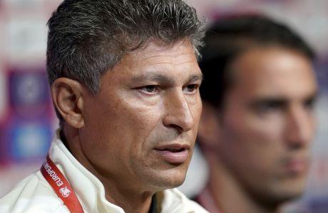 Ο ομοσπονδιακός προπονητής της Βουλγαρίας, Κράσιμιρ Μπαλάκοφ, στη συνέντευξη Τύπου πριν από την αναμέτρηση με την Αγγλία για τα προκριματικά του Euro 2020 στο 'Γουέμπλεϊ', Λονδίνο, Παρασκευή 6 Σεπτεμβρίου 2019