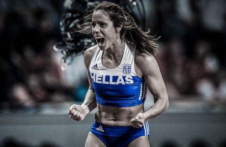 Η Κατερίνα Στεφανίδη πανηγυρίζει την επιτυχημένη προσπάθεια στα 4,85μ. που της χάρισε το χάλκινο μετάλλιο στο Παγκόσμιο Πρωτάθλημα Στίβου της Ντόχα (29/09/2019)