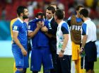 RECIFE, BRAZIL - JUNE 29:  Theofanis Gekas (2nd L) reacts after the defeat in the 2014 FIFA World Cup Brazil Round of 16 match between Costa Rica and Greece at Arena Pernambuco on June 29, 2014 in Recife, Brazil.  (Photo by Alex Grimm - FIFA/FIFA via Getty Images)