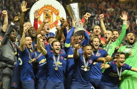 during the soccer Europa League final between Ajax Amsterdam and Manchester United at the Friends Arena in Stockholm, Sweden, Wednesday, May 24, 2017. (AP Photo/Martin Meissner)