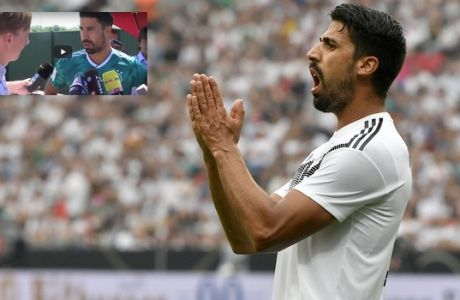 Germany's Samy Khedira reacts after missing a chance to score during a friendly soccer match between Germany and Saudi Arabia at BayArena in Leverkusen, Germany, Friday, June 8, 2018. (AP Photo/Martin Meissner)