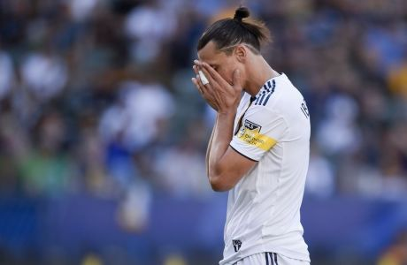 LA Galaxy forward Zlatan Ibrahimovic reacts after missing a pass during the first half of an MLS soccer match against Vancouver Whitecaps FC in Carson, Calif., Sunday, Sept. 29, 2019. (AP Photo/Kelvin Kuo)