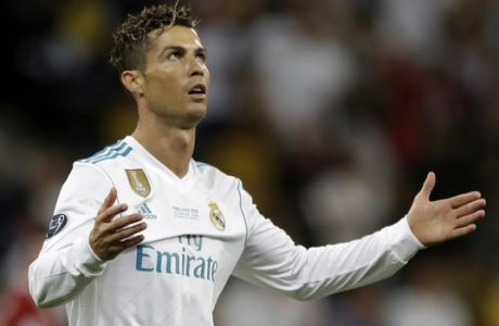 Real Madrid's Cristiano Ronaldo reacts during the Champions League Final soccer match between Real Madrid and Liverpool at the Olimpiyskiy Stadium in Kiev, Ukraine, Saturday, May 26, 2018. (AP Photo/Matthias Schrader)
