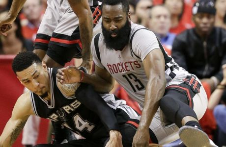 Houston Rockets guard James Harden (13) and San Antonio Spurs guard Danny Green chase a loose ball during the second half in Game 6 of an NBA basketball second-round playoff series, Thursday, May 11, 2017, in Houston. San Antonio won 114-75. (AP Photo/Eric Christian Smith)