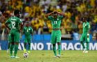 FORTALEZA, BRAZIL - JUNE 24: A dejected Wilfried Bony (L) and Giovanni Sio of the Ivory Coast react during the 2014 FIFA World Cup Brazil Group C match between Greece and the Ivory Coast at Castelao on June 24, 2014 in Fortaleza, Brazil.  (Photo by Jamie McDonald/Getty Images)