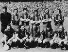 The new line up of the FC Barcelona football team, 2nd May 1974. Standing, left to right: goalkeeper Salvador Sadurni, Joaquim Rife, Antoni Torres (1943 - 2003), Antonio de la Cruz, Enrique Alvarez Costas and Juan Carlos Perez Lopez. Front (left to right) Gallego (Francisco Fernandez Rodriguez), Juan Manuel Asensi, Johan Cruyff, Hugo Sotil and Marcial Pina. (Photo by Central Press/Hulton Archive/Getty Images)