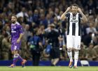 Juventus' Mario Mandzukic celebrates after scoring during the Champions League final soccer match between Juventus and Real Madrid at the Millennium stadium in Cardiff, Wales Saturday June 3, 2017. (AP Photo/Frank Augstein)