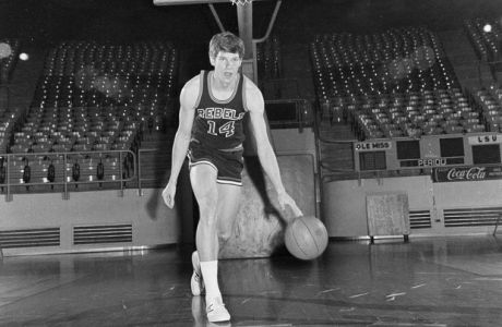 Ole Miss Rebels basketball star Johnny Neumann dribbles the ball during a practice session at the University of Mississippi campus in Oxford, March 12, 1971. (AP Photo)
