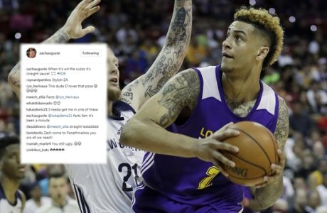 Los Angeles Lakers' Zach Auguste drives into New Orleans' Nick Minnerath during the second half of an NBA summer league basketball game, Friday, July 8, 2016, in Las Vegas. (AP Photo/John Locher)