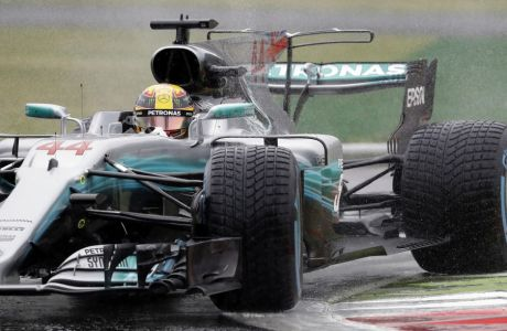 Mercedes driver Lewis Hamilton of Britain during the qualifying session for Sunday's Italian Formula One Grand Prix, at the Monza racetrack, Italy, Saturday, Sept. 2, 2017. (AP Photo/Antonio Calanni)