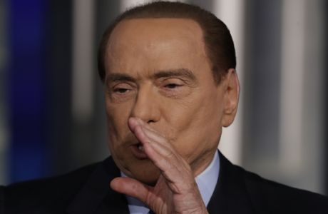 Italian former Prime Minister and Forza Italia (Go Italy) party leader, Silvio Berlusconi, gestures during the recording of the Italian state television RAI, Porta a Porta (Door To Door) tv talk show in Rome, Thursday, Jan. 11, 2018. (AP Photo/Andrew Medichini)