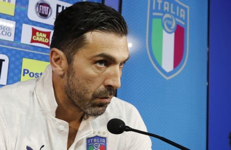 Italy goalkeeper Gianluigi Buffon attends a a press conference ahead of Monday's World Cup qualifying play-off return leg soccer match against Sweden, in Appiano Gentile, near Milan, Italy, Sunday, Nov. 12, 2017. (AP Photo/Antonio Calanni)