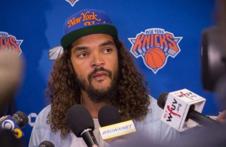 The New York Knicks' newest player Joakim Noah speaks with the media at Madison Square Garden training center on July 8, 2016 in Tarrytown, New York. Noah joins the Knick after playing for the Chicago Bulls. / AFP PHOTO / Bryan R. SmithBRYAN R. SMITH/AFP/Getty Images ORIG FILE ID: 553833444