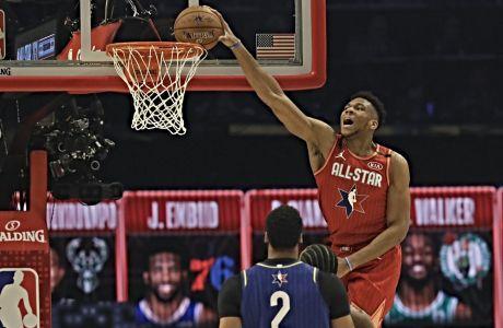 O Γιάννης Αντετοκούνμπο σε στιγμιότυπο από το NBA All-Star Game 2020, που έγινε στο Σικάγο